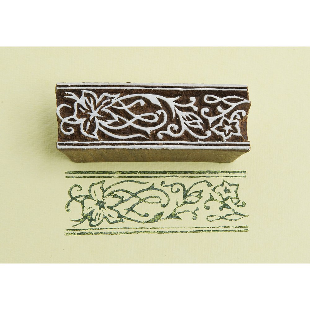 BLOCKWALLAH Wood Block Stamp-Flower Border C021