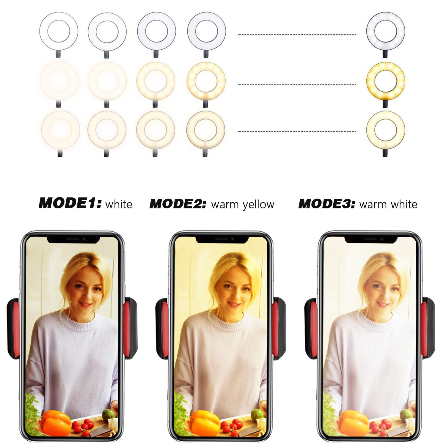 Selfie Ring Light with Cell Phone Holder Stand for Live Stream/Makeup, UBeesize LED Camera Lighting [3-Light Mode] [10-Level Brightness] with Flexible Arms Compatible with iPhone 8 7 6 Plus X Android by UBeesize (Image #3)