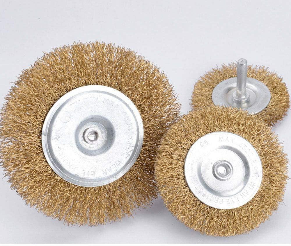 BE-TOOL Lot de 3 brosses m/étalliques rotatives /à tige ronde pour m/étal /élimination de la rouille et de la peinture anticorrosion 75 mm