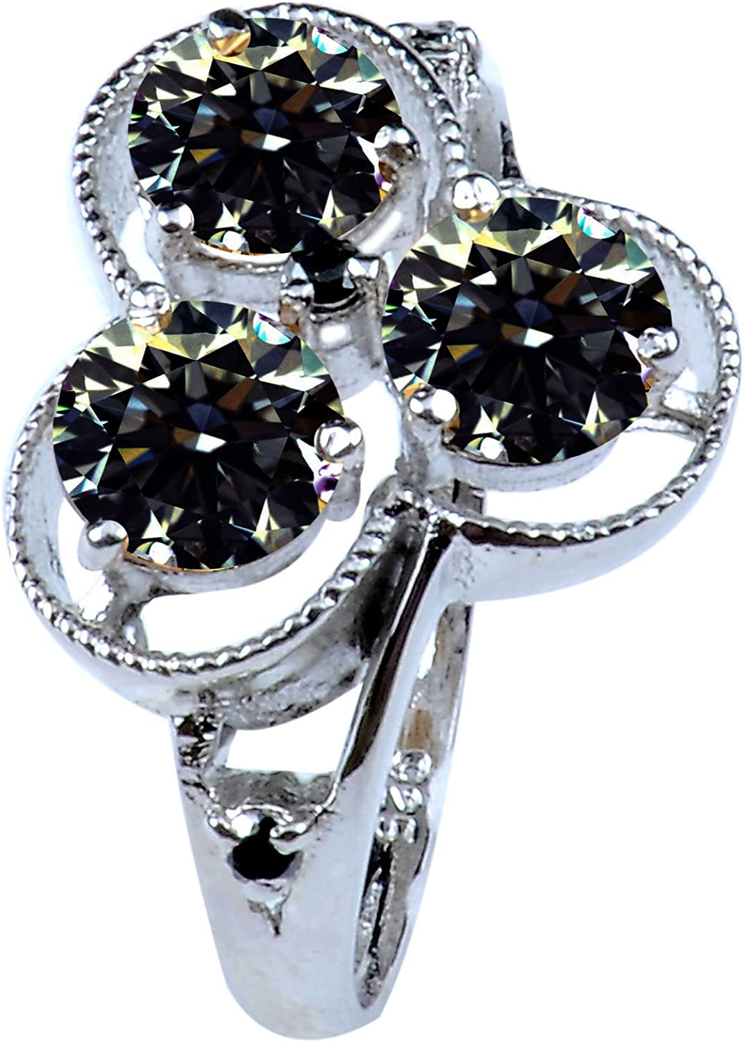 RINGJEWEL 2.36ct sI1 Round Real Moissanite Solitaire Engagement /& Wedding Ring Brown Size 7