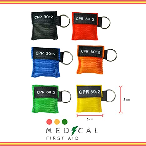 Pack de 10 Mascarillas Multicolor RCP, CPR mask, Llavero emergencia, boca a boca