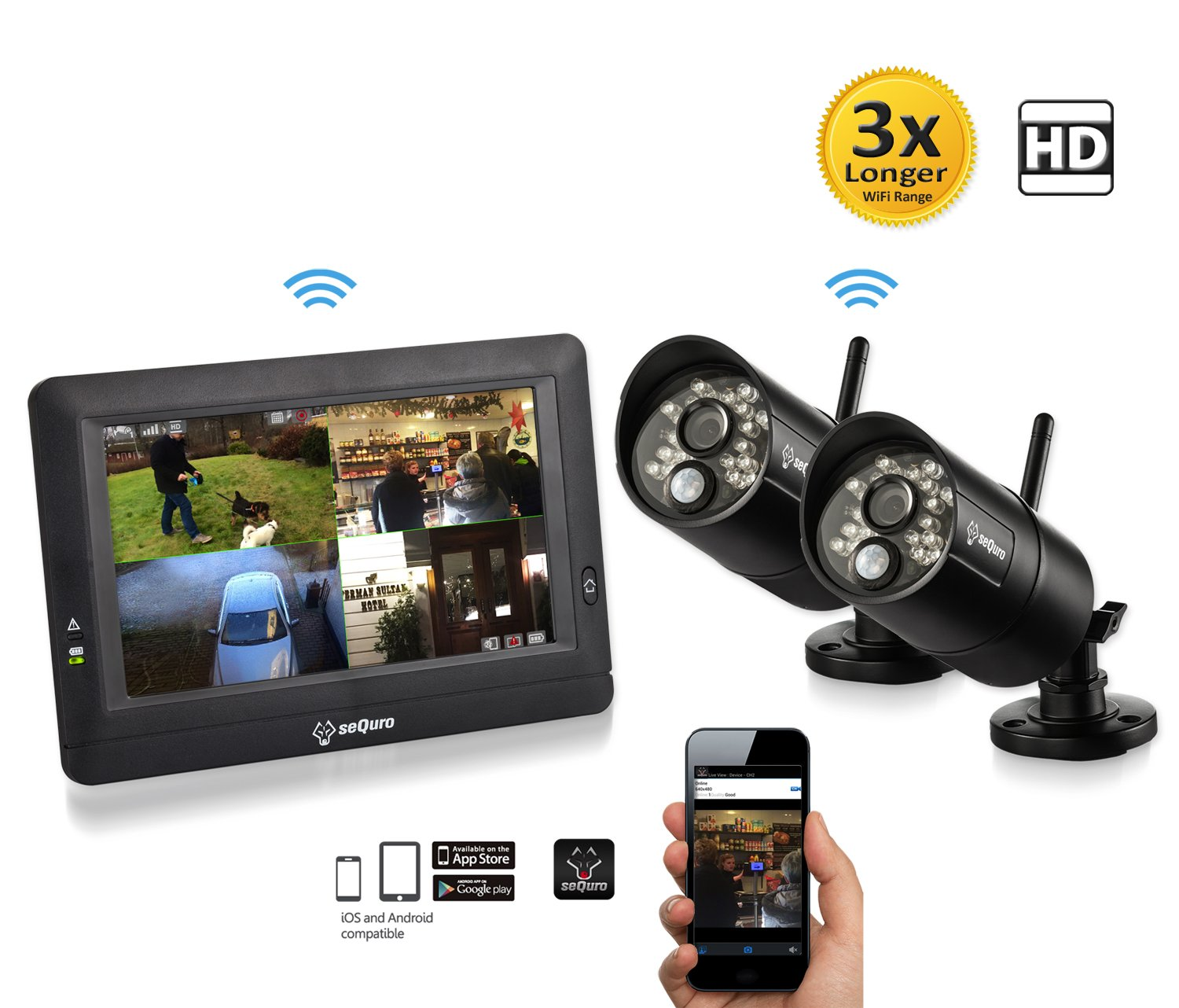 SEQURO GuardPro DIY Surveillance System with 7'' Wireless Touchscreen Monitor and 2 Outdoor/Indoor IP66 Weatherproof HD Security Cameras