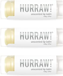 product image for Hurraw! Unscented Lip Balm, 3 Pack: Organic, Certified Vegan, Cruelty and Gluten Free. Non-GMO, 100% Natural Ingredients. Bee, Shea, Soy and Palm Free. Made in USA