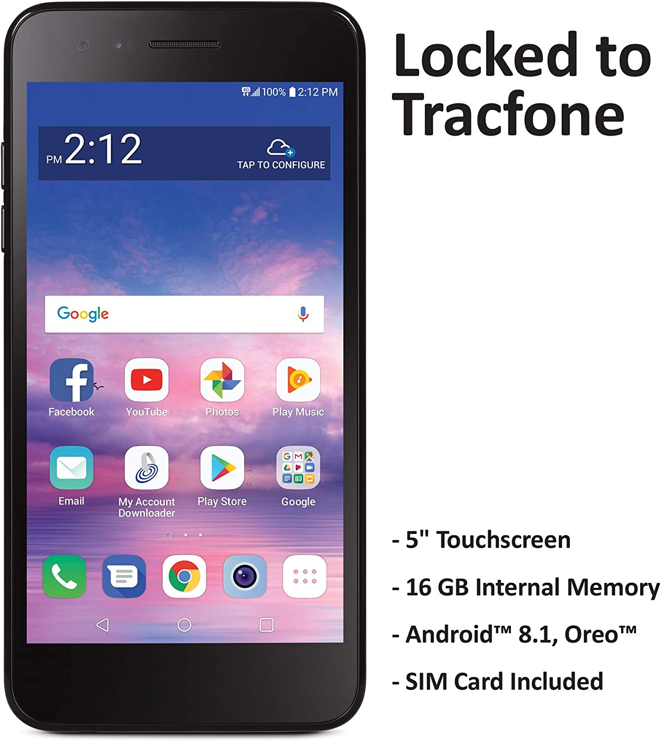 TracFone LG Rebel 4 4G LTE Prepaid Smartphone (Locked) - Black - 16GB - Sim Card Included - CDMA