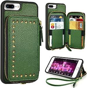 iPhone 8 Plus Wallet Case, ZVE iPhone 7 Plus Case with Credit Card Slot Zipper Money Holders Rivet Design Purse Wrist Strap Protective Case Cover for Apple iPhone 8 Plus 7 Plus 5.5 inch - Dark Green