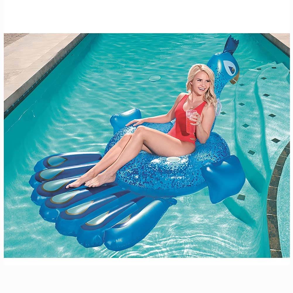 HECHEN Swimming Inflatable Floating Row 198164cm Children's Water Riding Toy Adult Large Peacock Shape Swimming Ring air Bed by HECHEN (Image #4)