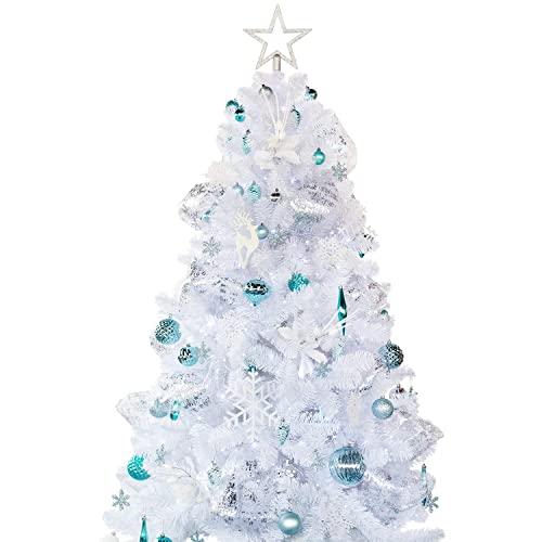 busy bee artificial white christmas tree 6ft with decoration ornaments blue and white christmas decorations including
