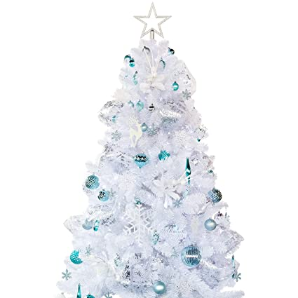 Ki Store Artificial White Christmas Tree With Decoration Ornaments Blue And White Christmas Decorations Including 6 Feet Full Christmas Tree 135pcs