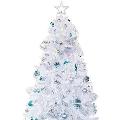 Foto Alberi Di Natale Bianchi.Busybee Albero Di Natale Artificiale Con Set Di Ornamenti Di Decorazione Blu E Bianco 180cm