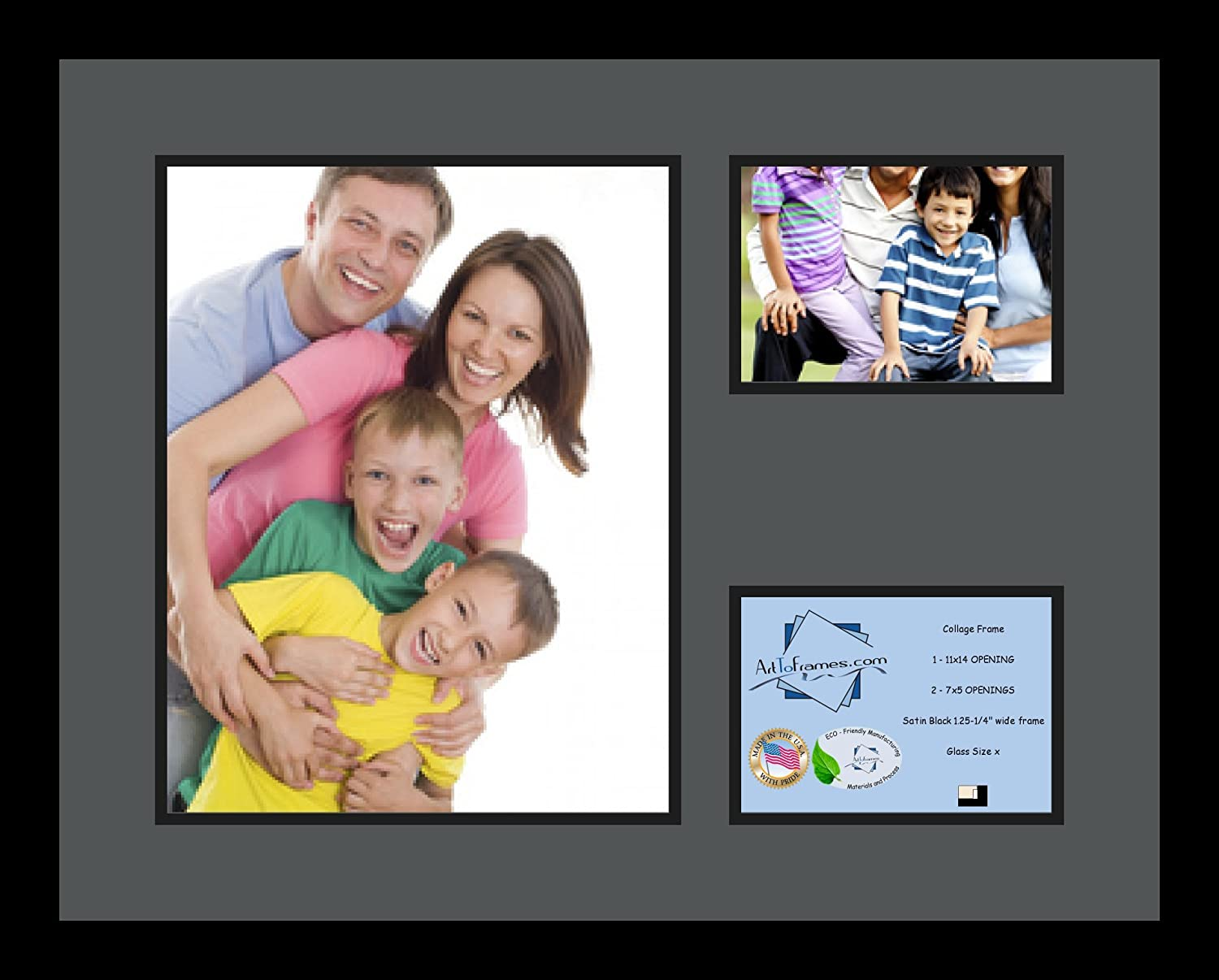 Art to Frames Double-Multimat-1139-41//89-FRBW26079 Collage Photo Frame Double Mat with 1-11x14 and 2-5x7 Openings and Satin Black Frame