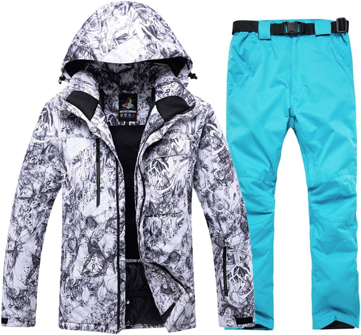 メンズ スノーボードウェア マウンテンジャケット スキーウェア 2点セット スキージャケット コート 保温 撥水加工 アウトドア スキー 釣り用 上着ホワイト+シアン ジャケットXL+パンツXXL