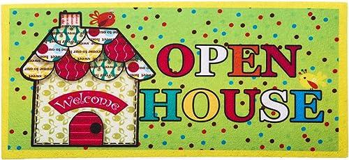 Evergreen Open House Decorative Mat Insert, 10 x 22 inches