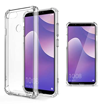 Moozy Funda Silicona Antigolpes para Huawei Y7 Prime 2018 / Huawei Y7 2018 - Transparente Crystal Clear TPU Case Cover TPU Flexible