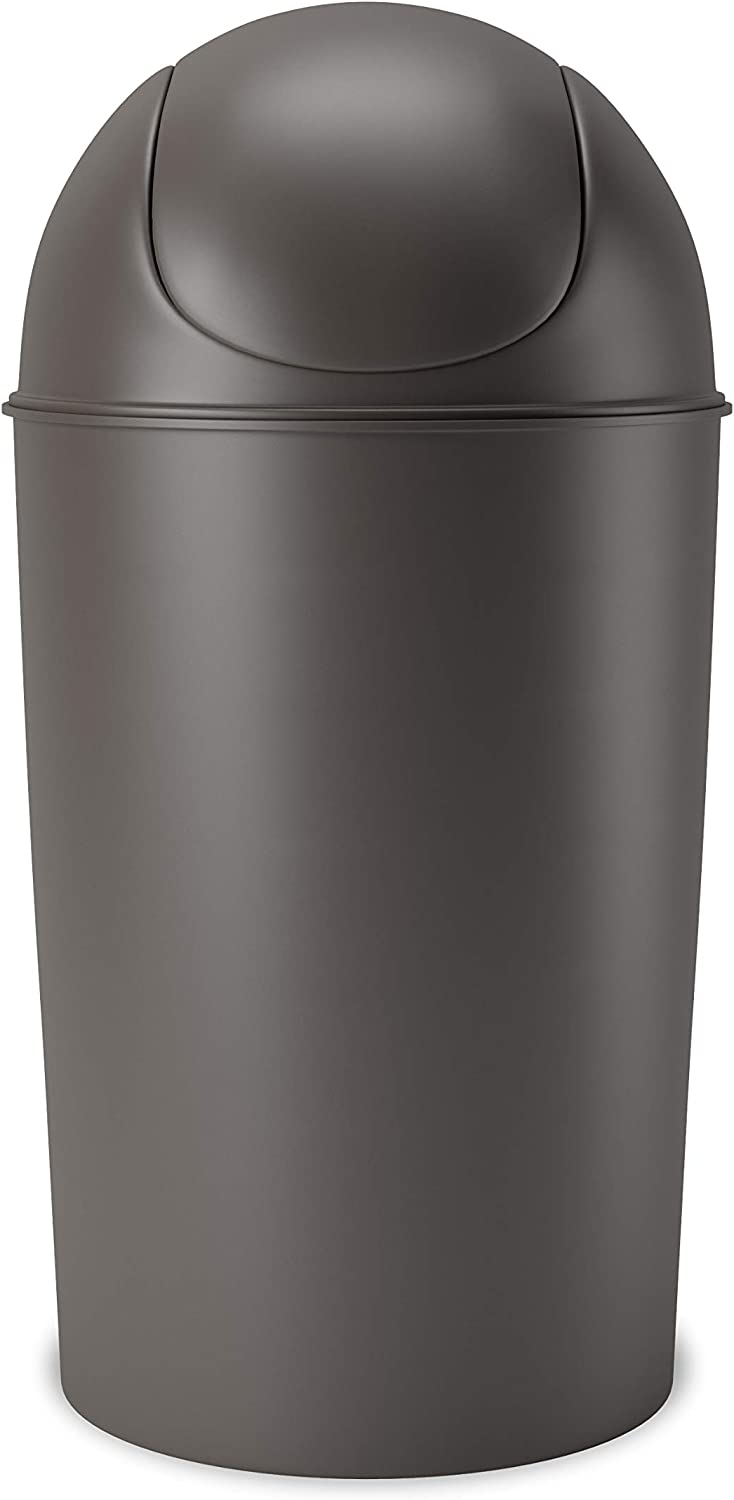 Umbra Grand Swing Top Garbage Large Capacity 10 Gallon Kitchen Trash Can with Lid, Indoor/Outdoor Use, Pewter