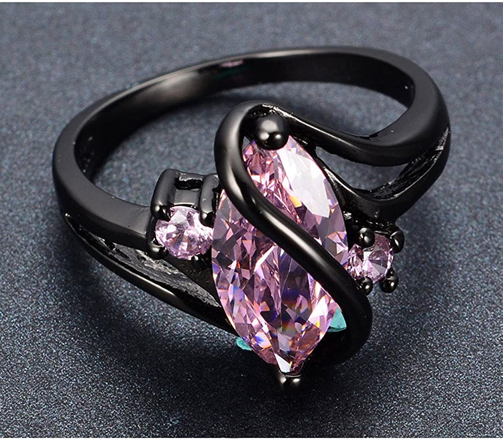 AYT Fashion S Design Pink Sapphire Vintage Jewelry Women Wedding Ring Anel Aneis Black Gold Filled CZ Engagement Rings Sz6-10