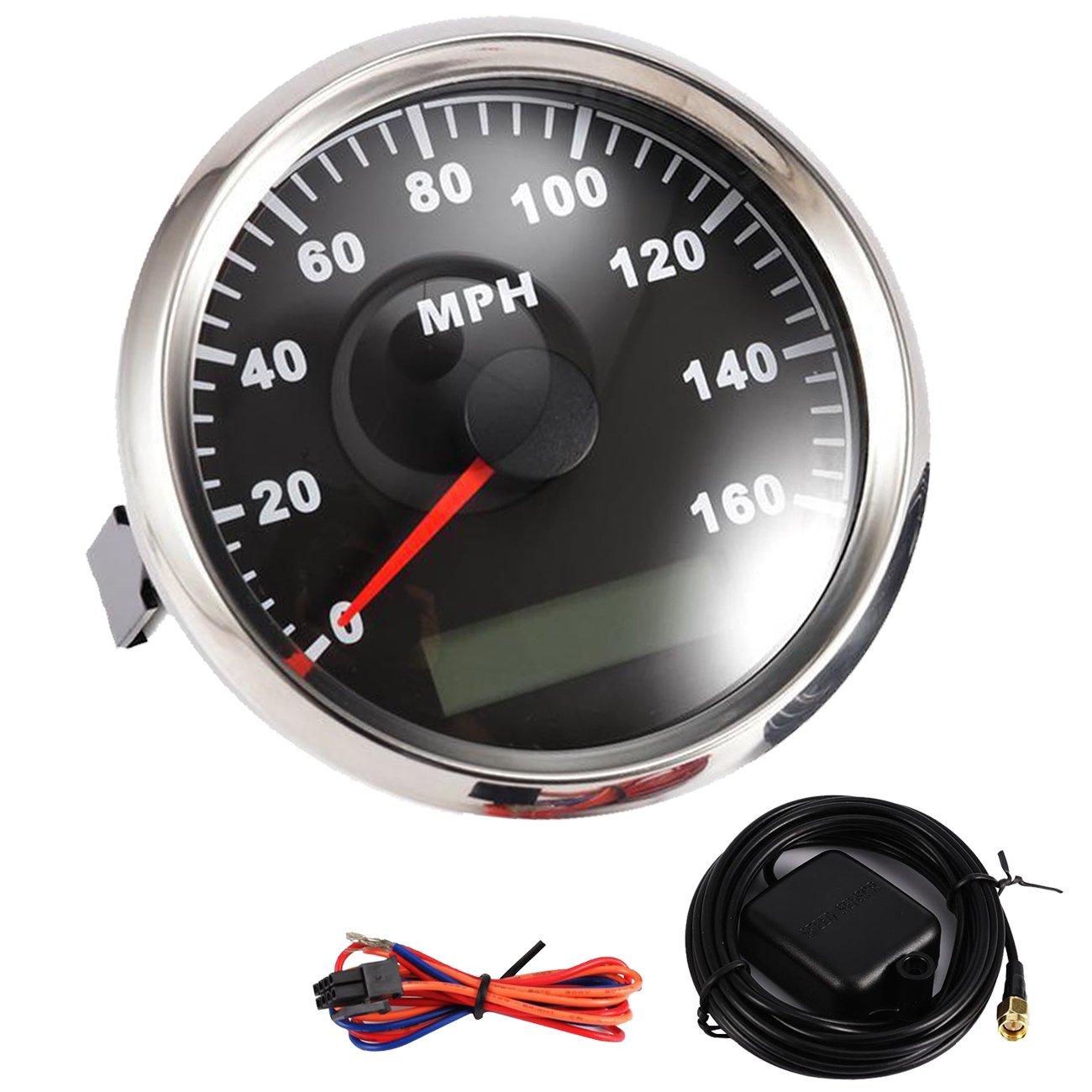 Partol 85mm Digital GPS Speedometer Gauge Waterproof Universal Odometer 0-160MPH for ATV UTV Car Truck Motorcycle Marine Boat