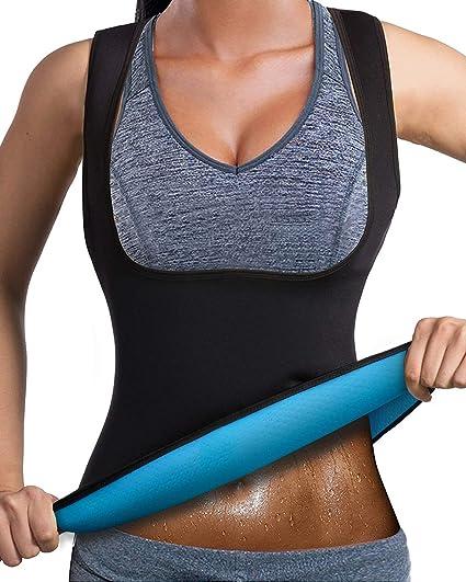 e49a2936f7a Amazon.com   DoLoveY Women Neoprene Sauna Suit Weight Loss Sweat Vest Hot  Corset Body Shaper Zipper   Sports   Outdoors