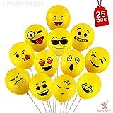 PARTY PROPZ Smiley Balloon Printed Face Expression Latex Balloon 25 Pcs, Yellow/Emoji Balloon/Smiley Balloon/Birthday Decoration/Birthday Balloon