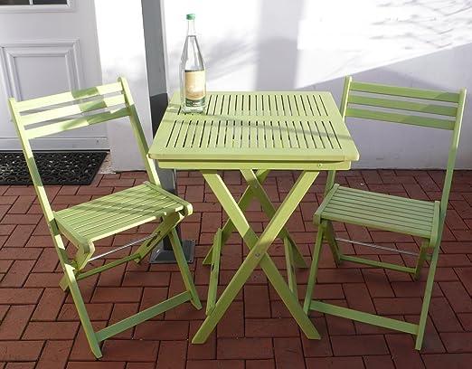 Juego de muebles de jardín mesa 2 sillas plegable Vintage Verde FSC Balcón Set: Amazon.es: Jardín