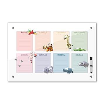 Memoboard 40 x 60 cm, Wochenplaner für Kinder - Tiere hk ...