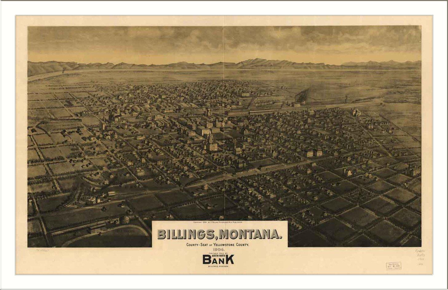 Amazon.com: Historic Billings, Montana, c. 1904 (L) Panoramic Map ...
