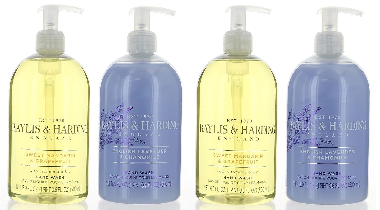 Baylis & Harding Hand Wash 4 Pack, England Sweet Mandarin & Grapefruit and English Lavender% Chamomile : Beauty