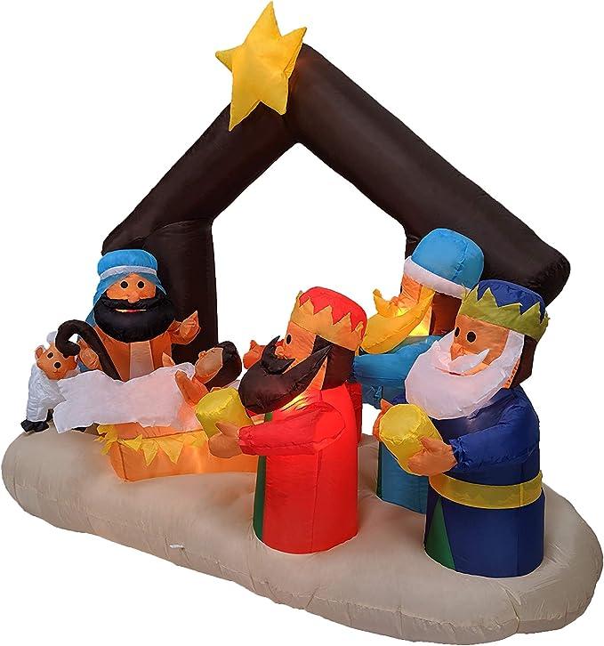 Amazon.com: 6 foot Belén inflable con tres reyes de Navidad ...
