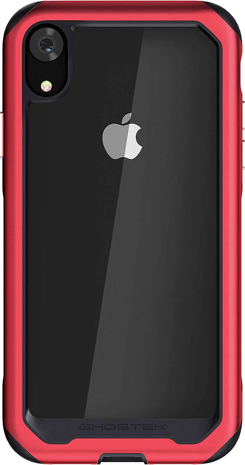 Ghostek Atomic Slim iPhone XR Clear Case with Space Metal Bumper Super Heavy Duty Protection Shockproof Military Grade Aluminum Wireless Charging Compatible for 2018 iPhone XR (6.1 Inch) - (Red)