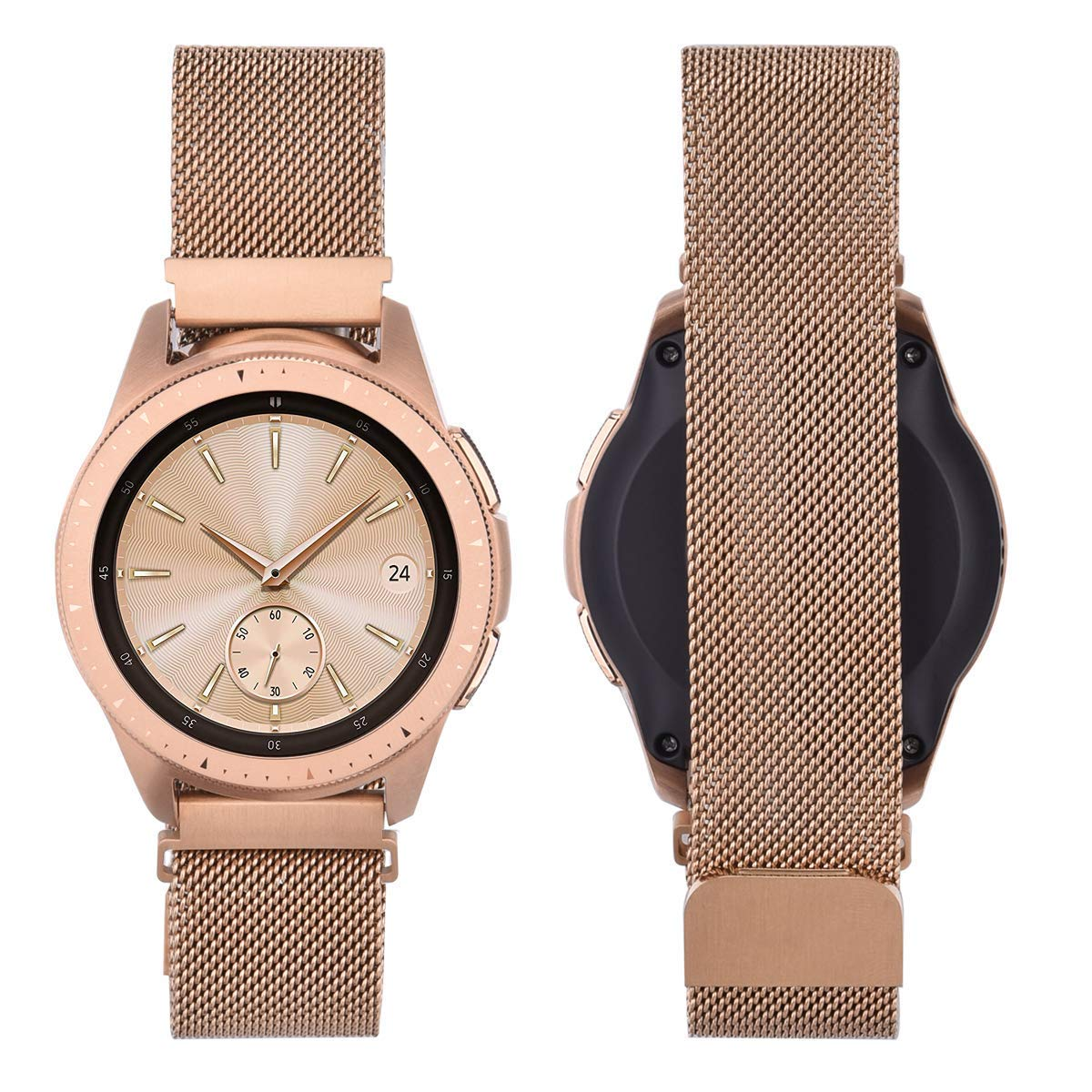 CAGOS Compatible Galaxy Watch 42mm/Galaxy Watch Active Bands Sets, 20mm 2 Pack Stainless Steel Band+Milanese Loop Mesh Bracelet for Samsung Galaxy Watch 42mm /Ticwatch E Smartwatch - Rose Gold by CAGOS (Image #4)