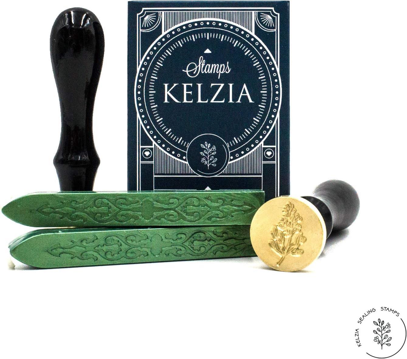 Kelzia Kit de Sello de Cera - Cera de Sellado para Lacrar - 1 Sello de Láton Retro y 2 Piezas de Lacre con Mecha (ESMERALDA)