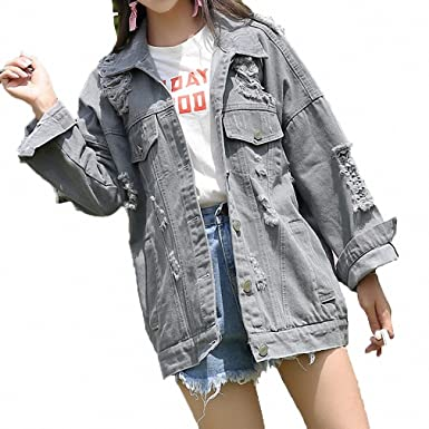 Huiwa Womens Denim Jacket Hole Ripped For Vintage Washed Jeans Loose Light Grey S