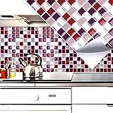 4 Set 25,3 x 25,3 cm Grandora mosaico 3D adesivo per piastrle W5202 autoadesivo cucina bagno Adesivo da muro decorazione piastrelle Pellicola rosso beige argento