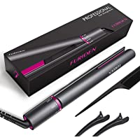 Hair Straighteners, Flat Iron for Hair Styling: 2 in 1 Ceramic Plate Curling Iron with Rotating Adjustable Temperature and Salon High Heat 120-230 ℃, UK Plug, Grey