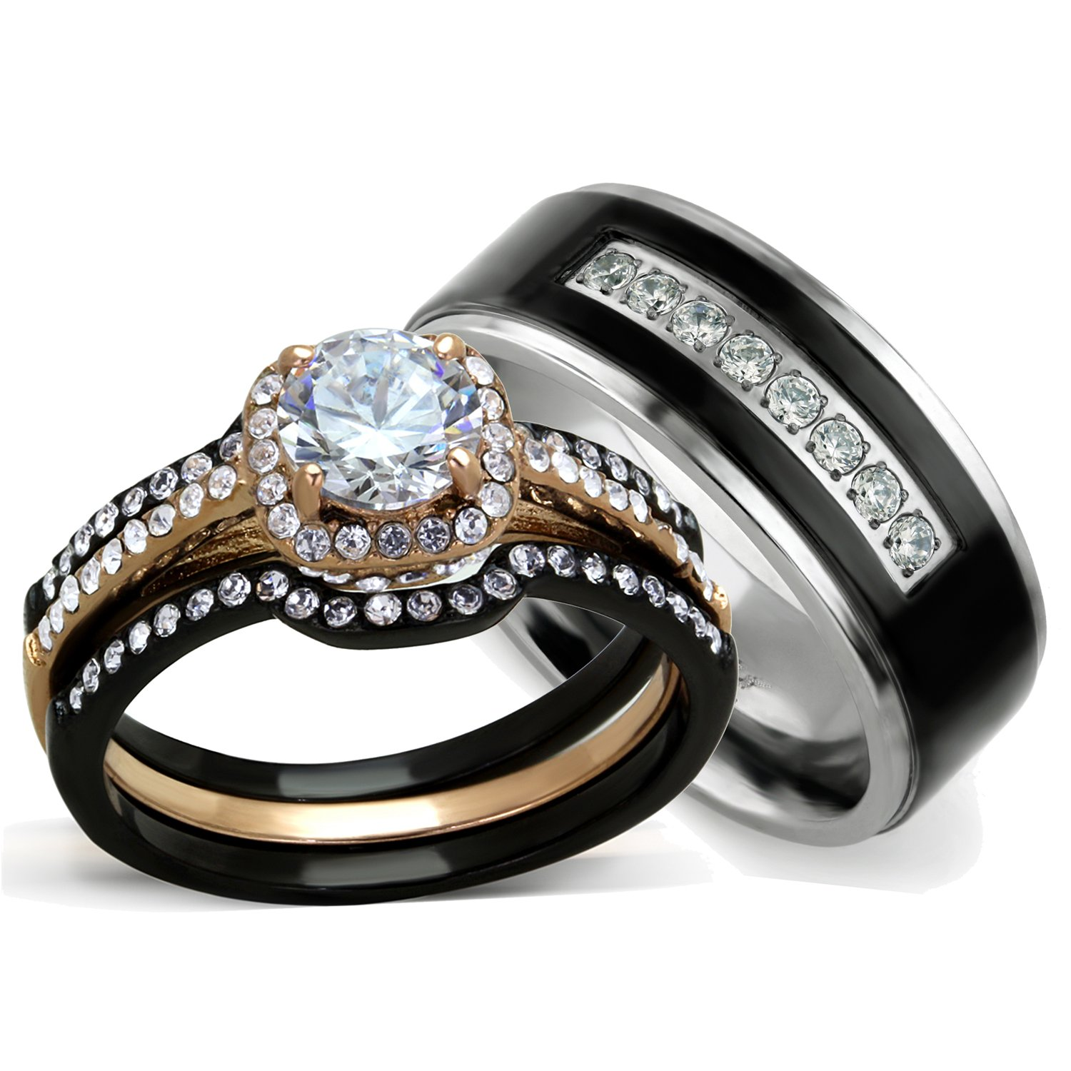 Ordinaire Amazon.com: His And Hers Wedding Ring Sets   Womenu0027s Halo Design CZ Wedding  Rings Sets U0026 Menu0027s Titanium Matching Wedding Bands (Womenu0027s Size 05 U0026 Menu0027s  Size ...