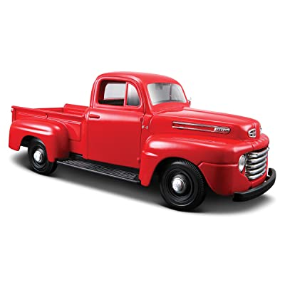 Maisto 1:25 Scale 1948 Ford F-1 Pickup Diecast Truck Vehicle, Colors May Vary [Red/Grey]: Toys & Games