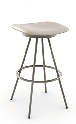 Amisco Beacon Swivel Metal Counter Stool, 26-Inch, Titanium Oyster