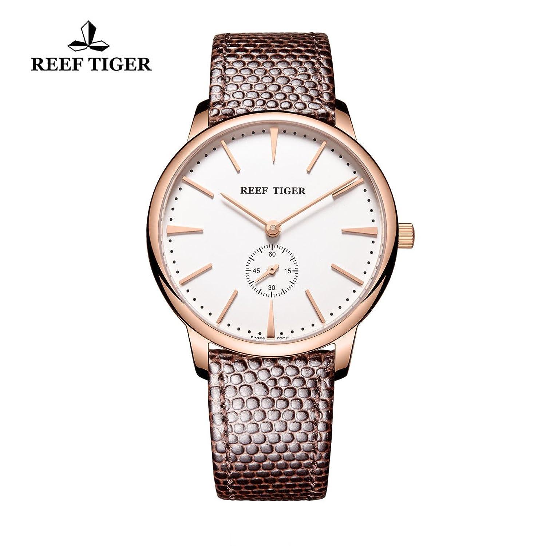 Reef Tiger Paar Uhren Ultra Thin Rose Gold weißes Zifferblatt Lederband Herren Armbanduhr rga820