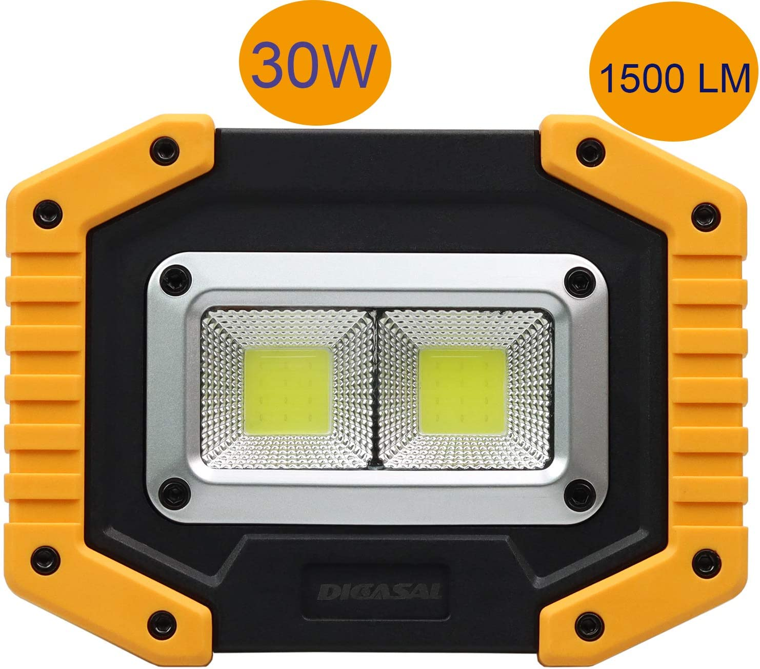 Portable Floodlight with USB Waterproof for Outdoor Hiking DICASAL 30W Rechargeable Floodlight LED Work Light Camping Emergency Security Lights 1 Pack