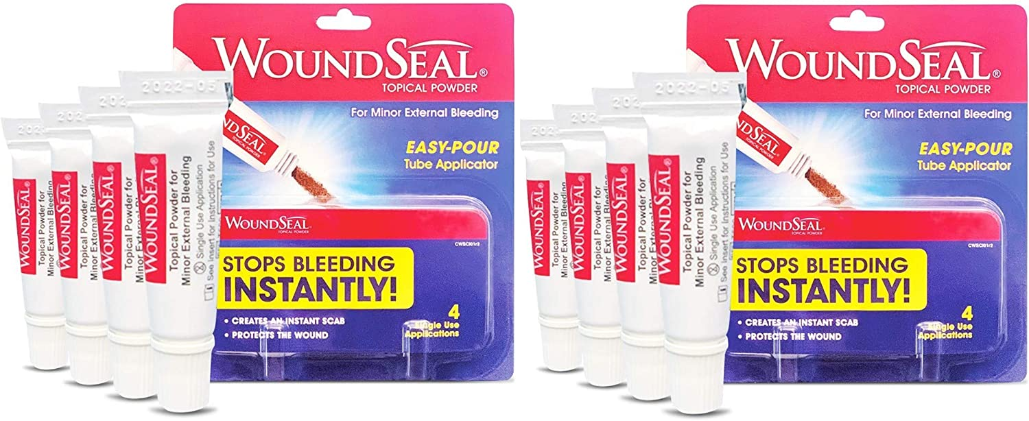 WoundSeal Powder 4 Each (Pack of 2) - Wound Care First Aid for Cuts, Scrapes and Abrasions - Stops Bleeding in Seconds Without Stitches or Bandages - Safe and Effective for People of All Ages and Pets
