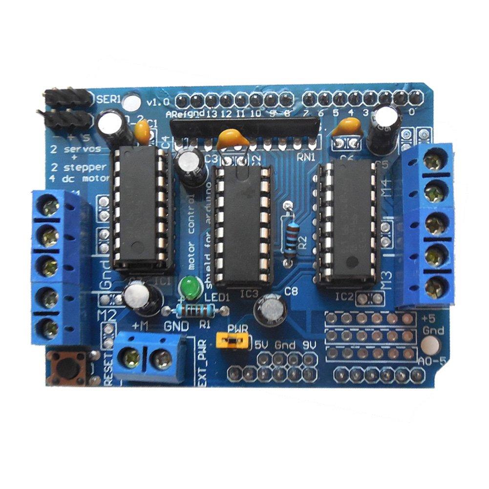 Amazingdeal365 Blue L293d Motor Control Drive Shield Expansion Board Bridge Circuit Bidirectional Arduino For Megauno Hi Fi Speakers