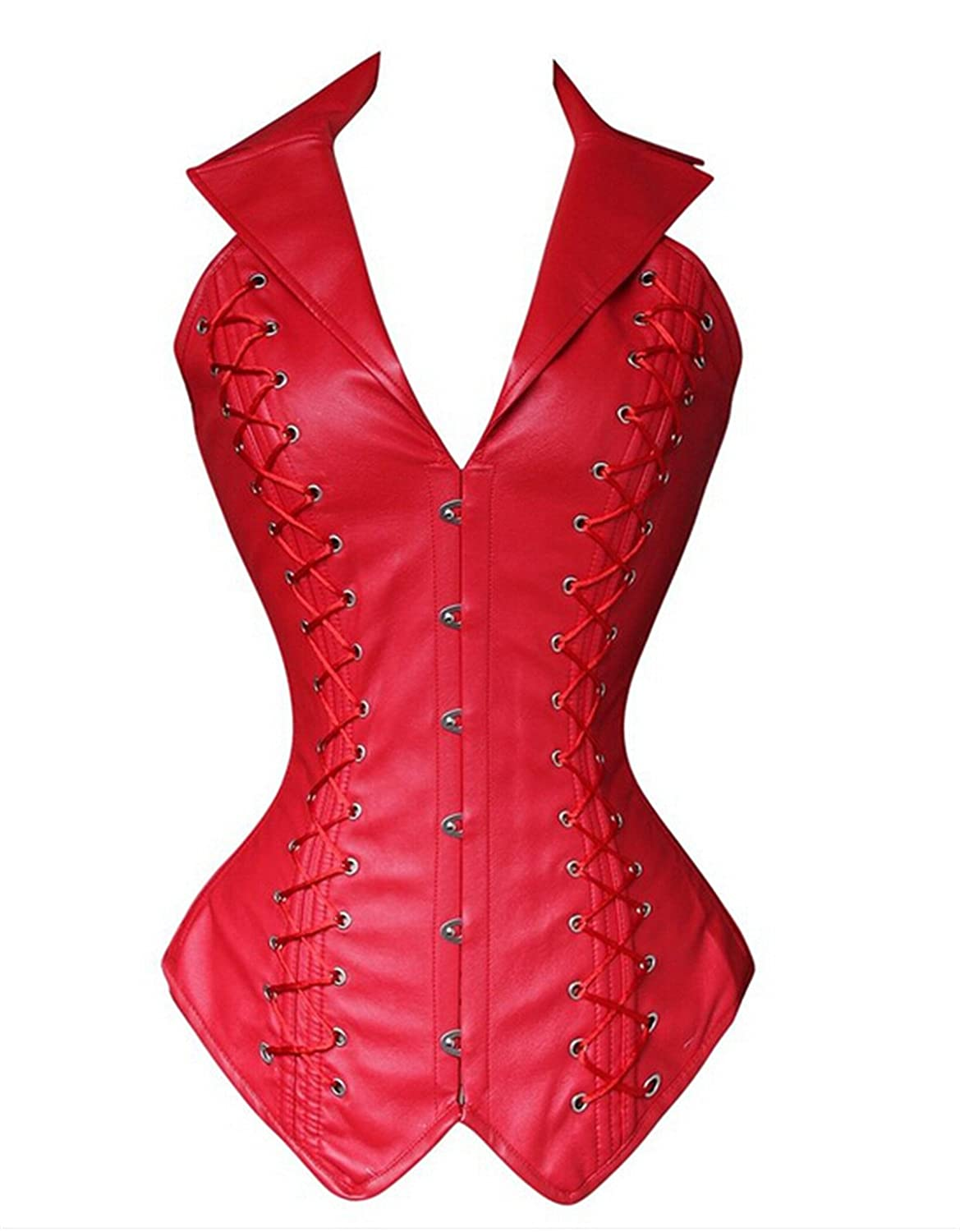 Women's Gothic Faux Leather Spiral Steel Boned Halter Steampunk Corset