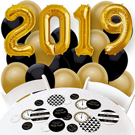 big dot of happiness 2019 new years eve gold confetti and balloon new years