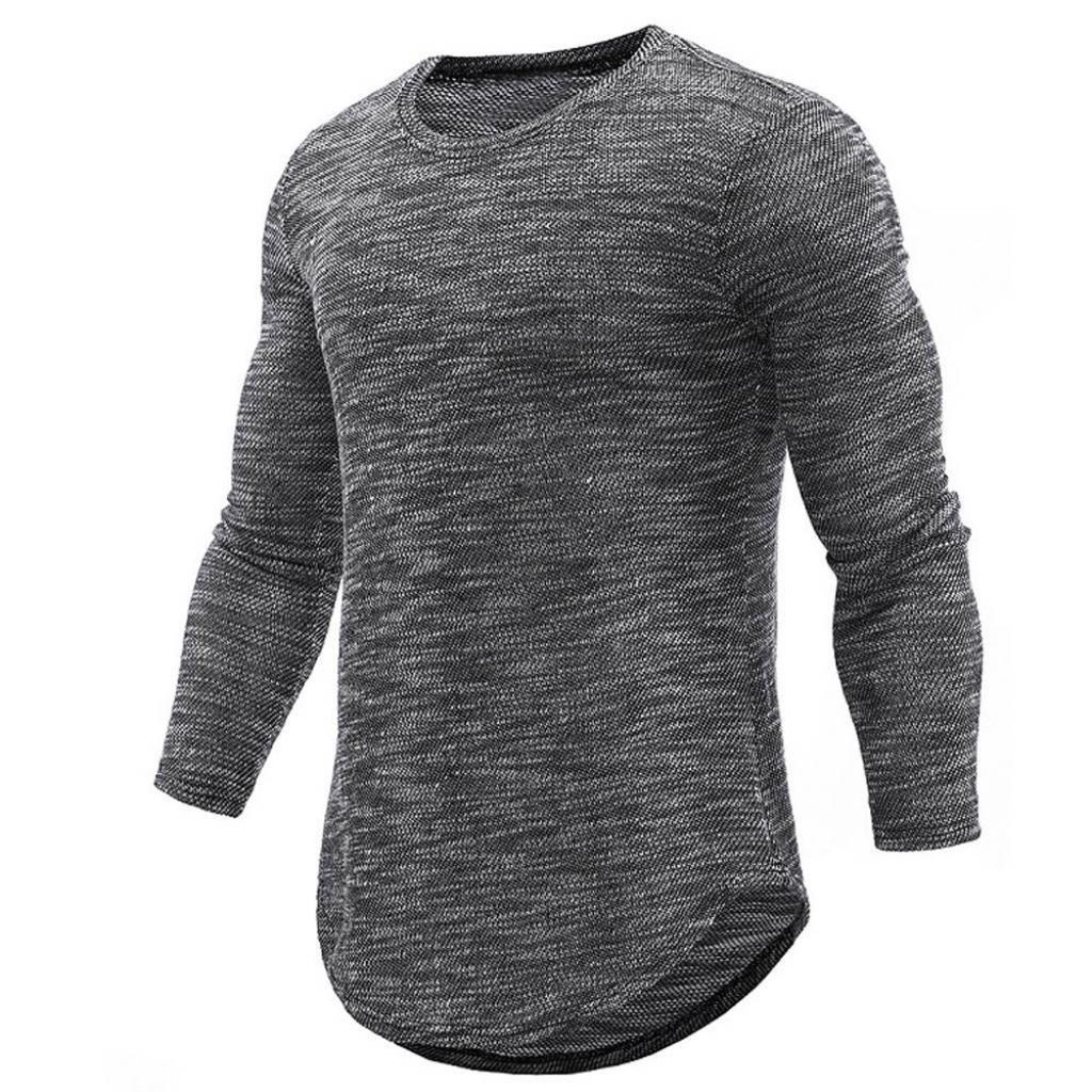 Camiseta para Hombre, JiaMeng Camisa de Manga Larga Delgada Ocasional de la O Cuello Camisa Delgada Casual Hombres de la Personalidad de la Moda