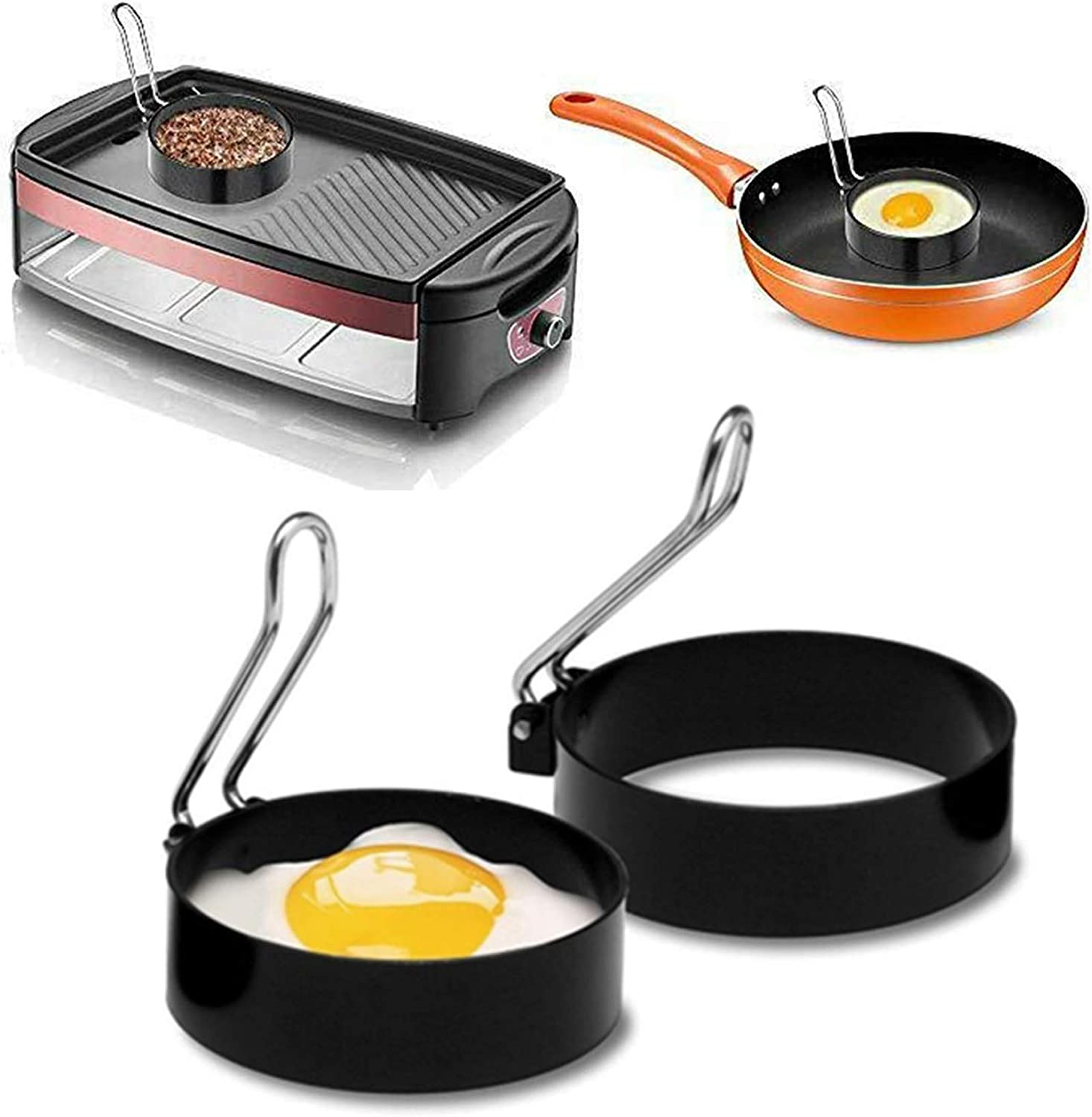 Baodanfirst Egg Ring Set,scrambled egg cooker grill For Cooking baking,Stainless Steel omlette maker single poached egg pan nonstick Round griddle mold,small frying pan Kitchen Tool