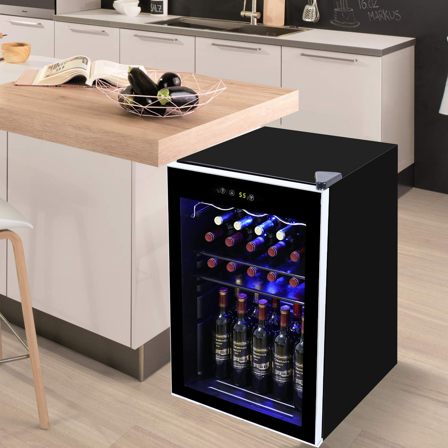 Quiet Wine Refrigerator with UV Protection Glass Door,Compressor Refrigeration for Counter Top/ 37 Bottles Freestanding Single Zone Fridge and Cellar Chiller Tavata Wine Cooler