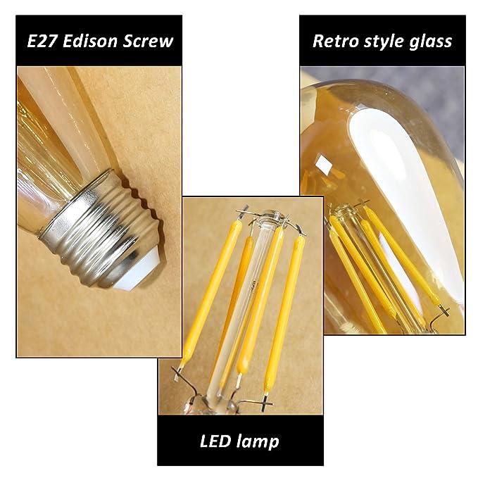 Vintage Edisen Bombilla, 4W (40W)LED Bombillas de ahorro de energíacon Filamento, E27 Iluminación de Nostalgia, 2700K para Casa, Restaurante, Bar, ...