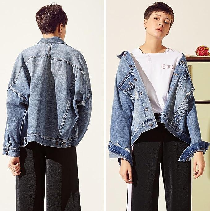 chaqueta suelto de lavada mezclilla chicas vaquera mujer chaqueta Zw51qZE