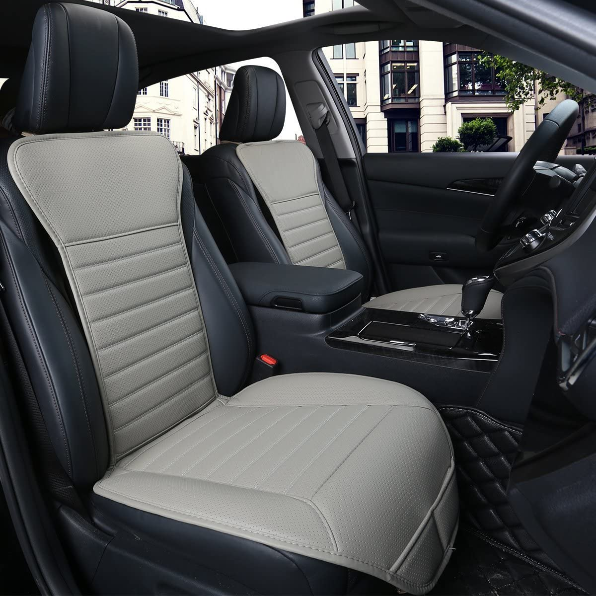 DINKANUR 2 PCS Edge Wrapping Auto Seat Covers PU leather Car Seat Covers Fit Car Seat Protectors 3D-black Without Backrest Front Seat Covers for Cars wide 53cm /× deep 54cm