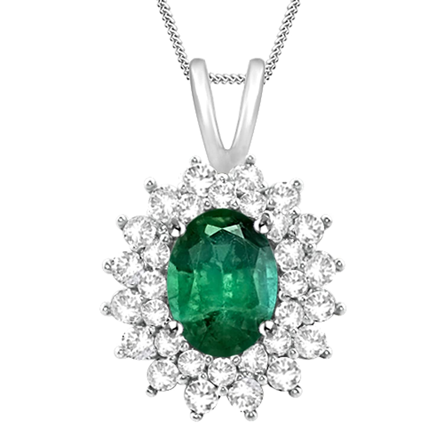 18 inch Diamond Scotch Simulated Green Emerald Double Halo Cluster Flower Pendant Necklace for Women Girl Teens