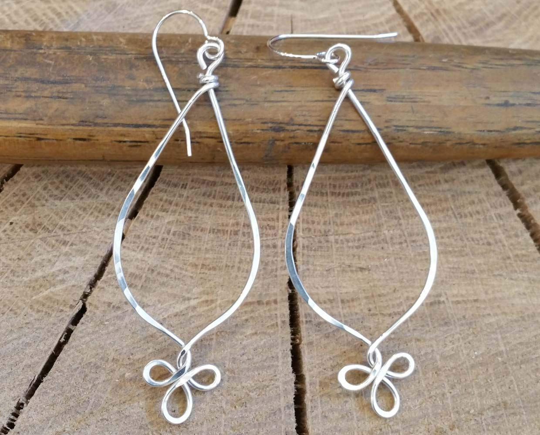 Long Teardrop Fancy Loop Sterling Silver Hoop Earrings Handmade in Oregon USA
